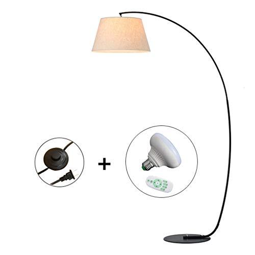 JLXW vloerlamp voor woon- en slaapkamer, moderne dimbare vloerlamp, stoffen kap met afstandsbediening, booglamp, hanglamp met 11W LED-lampen