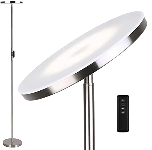 Anten Lampara de pie Stjarna | níquel | 30W lampara de pie led regulable con mando a distancia | 3 colores de luz + Brillo regulable | Lámparas de pie brillantes para salon, oficina.