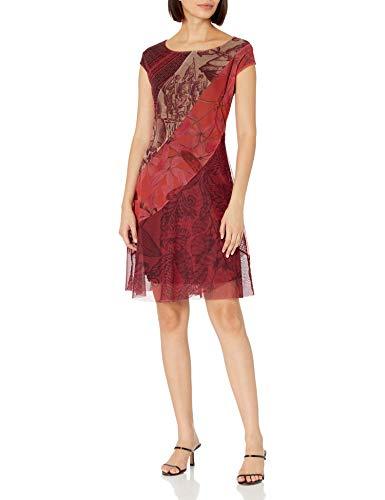 Desigual Vest_Houston Vestido Casual, Rojo, S para Mujer