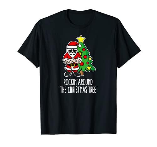 Rockin' alrededor del árbol de Navidad Santa Claus Hipster Barber Camiseta