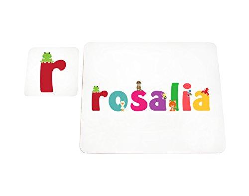 Little Helper LHV-ROSALIA-COASTERANDPLACEMAT-15IT Dessous de verre et sets de table avec finition brillante, personnalisés pour filles Nom Rosalia, multicolore, 21 x 30 x 2 cm