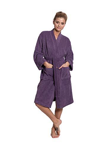 Turkuoise Women's Terry Cloth Robe Turkish Cotton Terry Kimono Collar (Large/One Size, Plum)