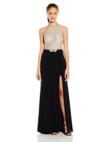 Blondie Nites Juniors Long Beaded Prom Dress with Keyhole Neck, Nude/Black, 9