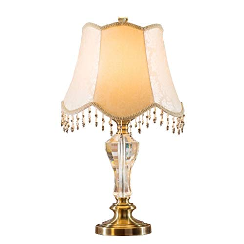AOHAI Nachttischlampe Kristall-Tischleuchte, Schreibtischlampe Nachtlampe, mit Stoff Lampenschirm Moderne Tischlampe for Studien- / Schlaf- / Wohnzimmer Moderne Lichter