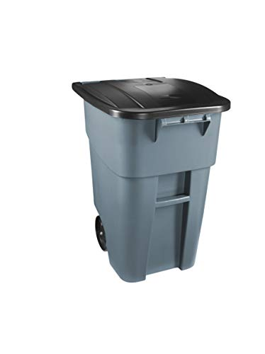 Rubbermaid Commercial BRUTE Recycling Bote de Basura con Tapa Abatible, 50 Galones, Gris