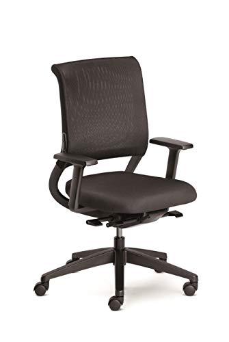 Sedus netwin light Bürostuhl, Drehstuhl, mit Armlehnen, Kunststoff, Schwarz, Verstellbar