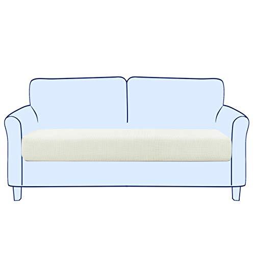 subrtex Sofa Sitzkissenbezug Stretch Sitzkissenschutz Elastischer Kissenbezüge Husse Überzug Bezug für Sofa Sitzkissen (2 Sitzer, Creme)