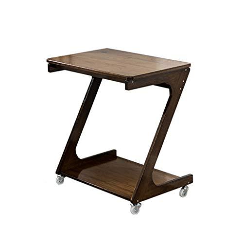 FSAQ Mobile End Table, Solid Wood Mobile Computer Desk, Z Type Living Room Sofa Side Vertical Computer Desk, Bedroom Bedside Computer Desk (Color : Wood)