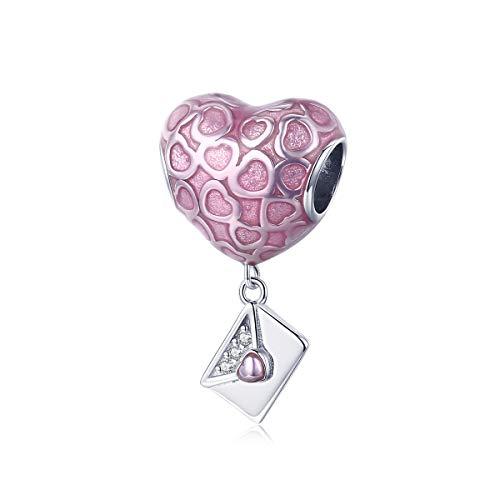 LAMENARS'I Love You (te quiero mucho)' Amor Corazón Charm con Plata de ley 925 Compatible con Pulseras y Pulseras Europeas (From Me to My Love)