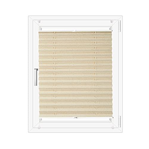 OBdeco Estor plisado Klemmfix sin taladrar, para ventanas, opaco, protección solar, Easyfix (80 x 200 cm)