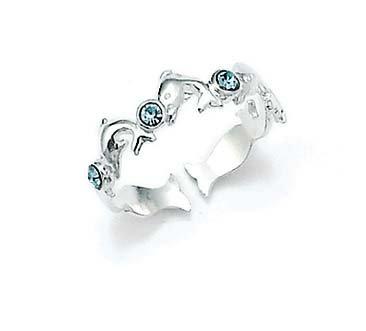 Anillo de plata de ley 925 delfines azul CZ zirconia cúbica imitación diamante dedo del pie anillo joyería regalos para mujeres