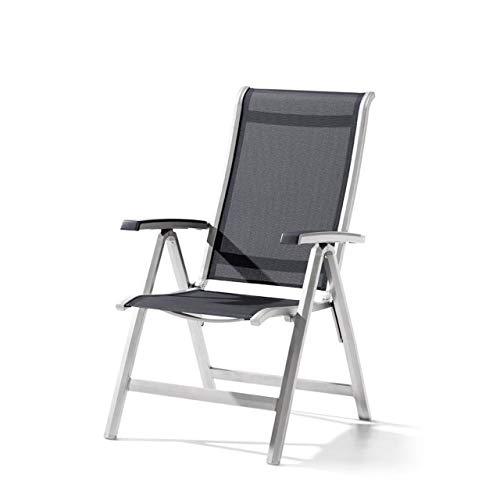 Sieger Gartenstuhl Klappstuhl Calvi Aluminium Textilux® graphit grau 335/A-G