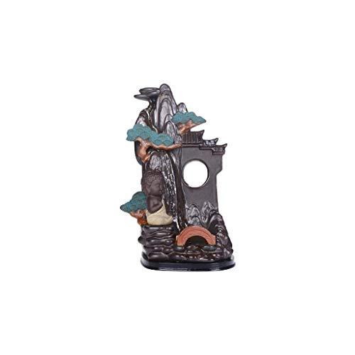 SCDZS Quemador de incienso de cerámica, estatuas de decoración, quemador de incienso, de agua fluyente, adornos de cerámica para quemador de incienso