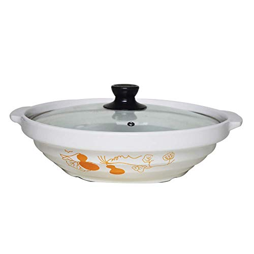 WCY Cacerola de cerámica con Tapa de Vidrio, Olla de Barro Hecho a Mano, Olla de Arcilla Redonda, Adecuado para Cocina de inducción Diámetro Negro de 10 Pulgadas (26 cm) yqaae