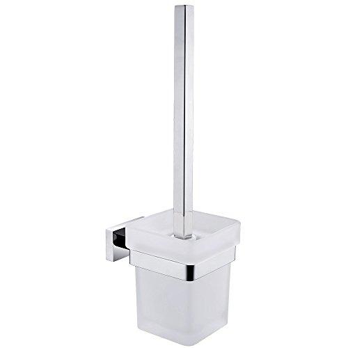 CASEWIND WC Toilettenbürstenhalter mit Becher und Bürste aus Edelstahl und Matt Glas, Silber Modern Chrom finished Oberfläche zum Bohren