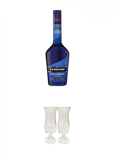 De Kuyper Blue Curacao Likör 0,7 Liter + De Kuyper Cocktailglas 2 Stück