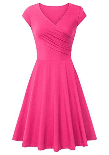 YMING V Neck Dress for Women Cap Sleeve A Line Dress Solid Color Dress Rose S