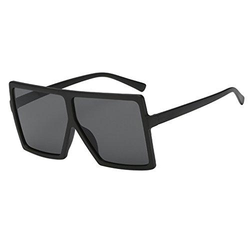 Harilla Gafas de Sol Rectangulares con Montura de Plástico Retro para Mujer - Negro Mate de Granja Negro Lente