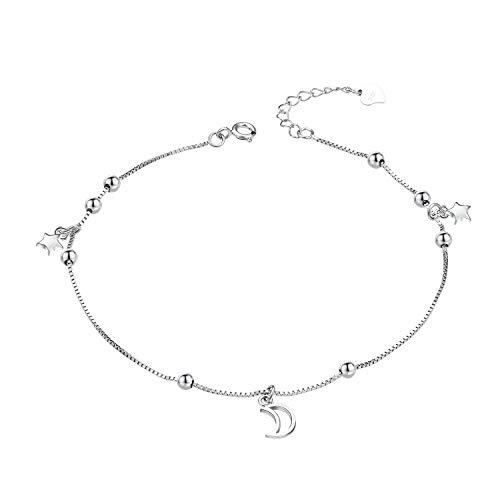 Tobillera para mujer de plata de ley 925, diseño de luna y estrellas, 24 cm, ajustable, para verano, playa, joyería para niñas – sin níquel