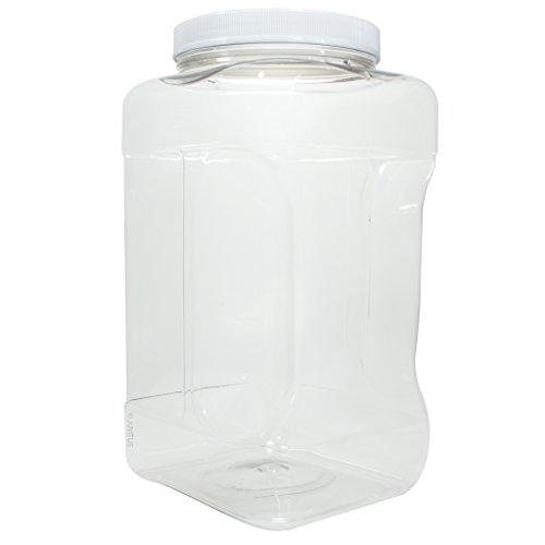 1 Gallon / 128 oz / 4 Quart Square Food Storage Refillable PET Plastic (BPA Free) Container Jar