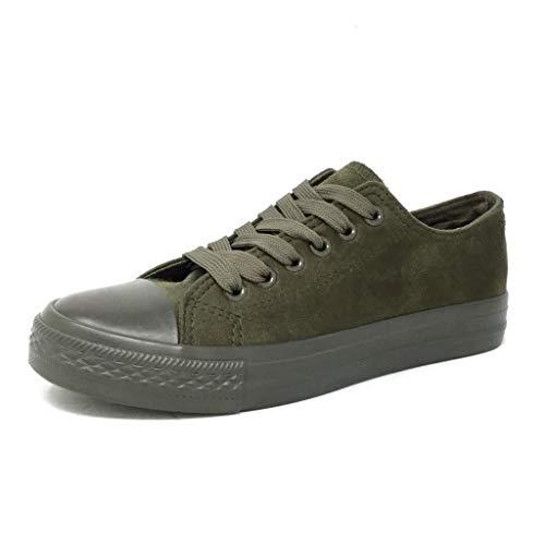 Angkorly - Damen Schuhe Sneakers - Turnschuhe - Tennis - Bequeme - Einfach Basic - Basic Flache 3 cm - Grüne 2 666-6 T 38