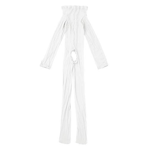 iiniim Herren Body Overall Transparent Einteiler Ganzkörperanzug Strumpfhosen mit Penishülle Männer Unterhemd Unterwäsche (Einheitsgröße, Weiß Ouvert)
