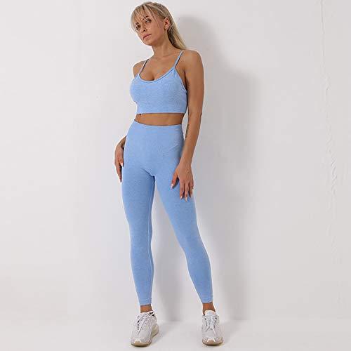 HongHe Conjuntos de Yoga para Mujer Conjunto de 2 Piezas, Leggings Deportivos sin Costuras de Cintura Alta de Entrenamiento y Conjunto de Sujetador Deportivo Ropa de Gimnasio(S, Blue)