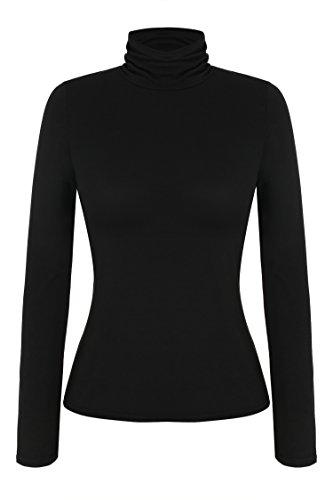 Zeagoo Damen Shirt Langarm mit Rollkragen Langarmshirt Bluse Casual Oberteile Stretch Shirt Slim Fit Herbst Winter 1_schwarz M