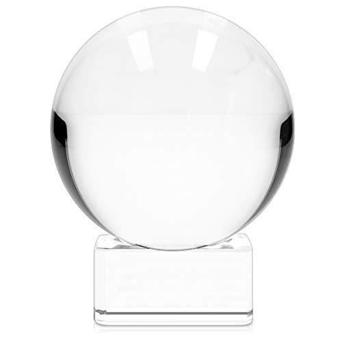Navaris Glaskugel Fotografie Kugel aus K9 Glas - Fotokugel mit Ständer - Kristallkugel klare Kristall Deko mit Glasständer - Ø 60mm