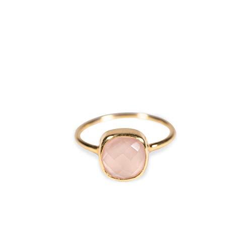 Rosenquarz Silber vergoldet Ring für Frauen