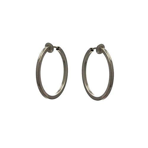 Cerceau quadrato 30mm argentato orecchini a clip