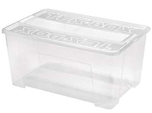 Heidrun Lot de 3 boîtes Tex-Box avec couvercle et fermeture à clic - 48 litres - 57 x 38 x 27,2 cm - Transparent