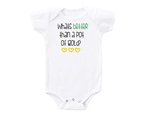"""Promini - Disfraz para bebé con texto en inglés """"What Better Than a Pot of Gold"""", diseño divertido Blanco blanco 9 mes"""
