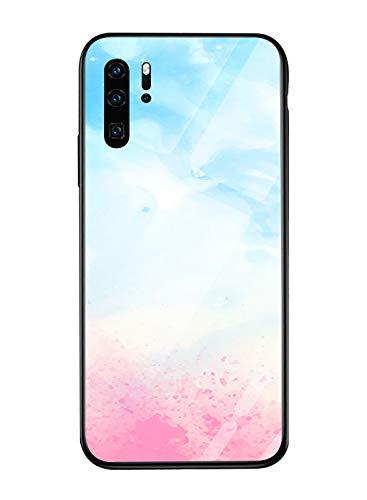 Oihxse Colorido Gradual Cristal Estilo Case Compatible con Huawei Mate 9 Pro Funda Vidrio Templado Trasera Carcasa Borde de Silicona Suave Protectora Ultra Fino Anti-arañazos