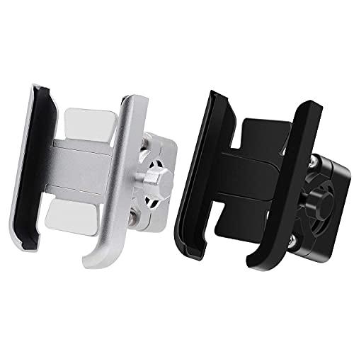 HYCy 2X Soporte de aleación de Aluminio para Ciclismo, Soporte Ajustable para Manillar de Bicicleta, Soporte para teléfono, Soporte para teléfono de Motocicleta, Plateado y Negro
