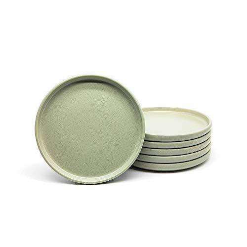 Dinnerware Sets, by Kook, Semi-Matte Stoneware, Dinner Plates, Salad Plates (Sage Green, 8 Inch)