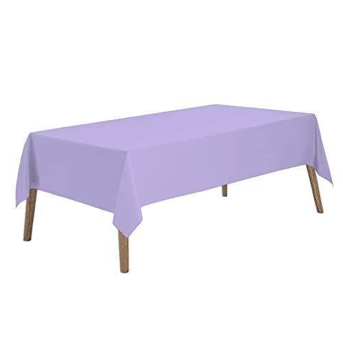 Lavender Plastic Tablecloths 2 Pack Lilac Disposable Table Covers 54 x 108 Inches Bridal Shower Party Tablecovers PEVA Mauve Table Cloths for BBQ Birthday Wedding Parties 8 ft Rectangle Table Use