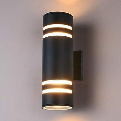 Outdoor Wall Light Fixture, Gray Aluminum Modern Wall Lamp, Waterproof Cylinder Porch Light Wall Sconce for Garden & Patio