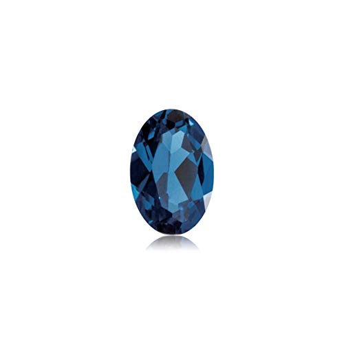 1.06-1.30 Cts of 7x5 mm AAA Oval Cut Swiss Made Rough Synthetic Blue Sapphire (1 pc) Loose Gemstone