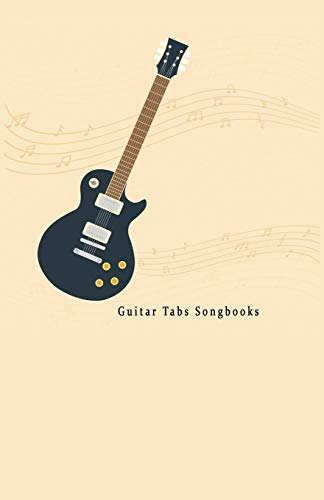 "Guitar Tabs Songbooks: Blank Guitar Tabs paper, Standard Staff & Tablature Featuring Twelve 6-Line Tablature Staves Per Page With a ""TAB"" Clef with Guitar In Flat design Theme."