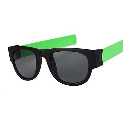 NJJX Gafas De Sol De Muñeca Plegables Para Mujer, Pulsera Con Bofetadas, Gafas De Sol, Pulsera Enrollada Para Hombre Y Mujer, Vintage, Cuadrado, Negro, Verde