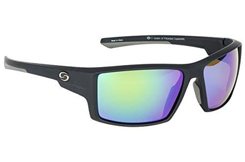 Strike King Optics Polarized SG Pickwick Sunglasses, Matte Black Frame/White/Blue Mirror Amber Base Lens (SG-S1192)