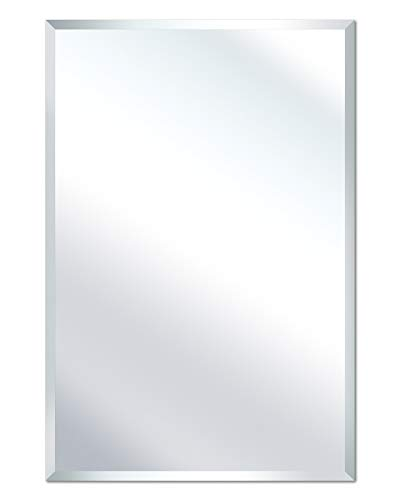 """SHINESTAR 30 x 40"""" Rectangle Mirror with Beveled Edge, Horizontal or Vertical Hanging, Modern Frameless Mirror for Wall, Bathroom, Home Decor"""