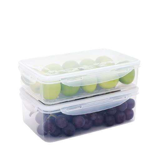 SZBY Recipiente Hermético para Almacenamiento de Alimentos de 2 Piezas, Caja de Almacenamiento Fresca con Tapa, Contenedores de Comida para Cocina, Microondas