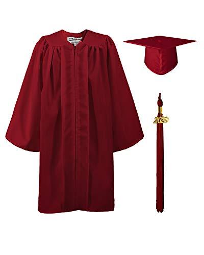 GraduationMall Matte Kindergarten & Preschool Graduation Gown Cap Set with 2020 Tassel Maroon 36 (4'3