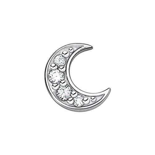Thomas Sabo Women's Single Stud Earrings Moon Pavé Silver 925 Sterling Silver