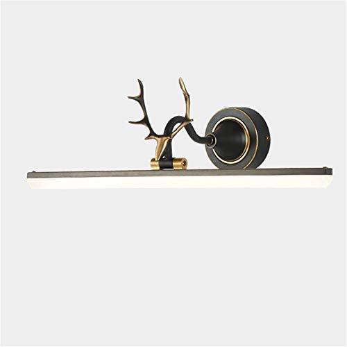 Lámparas de pared industriales, Espejo frontal luz vintage negro latón creativo asta de baño iluminación ahorro de energía LED de baño de pared lámpara lámpara tocador maquillaje acrílico máscara somb