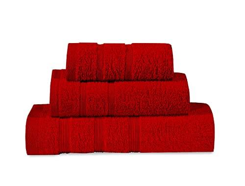 ADP Home - Juego de Toallas Tocador / Lavabo / Ducha (Rojo, Juego de Toallas de Tocador / Lavabo /...