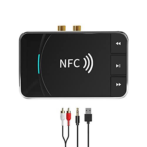 Adaptador Bluetooth, POMME Adaptador Bluetooth Receptor De Altavoz Bluetooth para Automóvil Habilitado para NFC, Conexión Inteligente, Adecuado para TV, Teléfono Móvil, Audio y Otros Dispositivos
