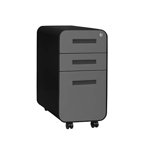 Stockpile Slim Version | 3-Drawer Mobile File Cabinet, Commercial-Grade, Pre-Assembled (Black/Grey)